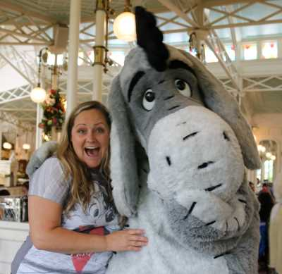 Eeyore and I at the Crystal Palace at Magic Kingdom