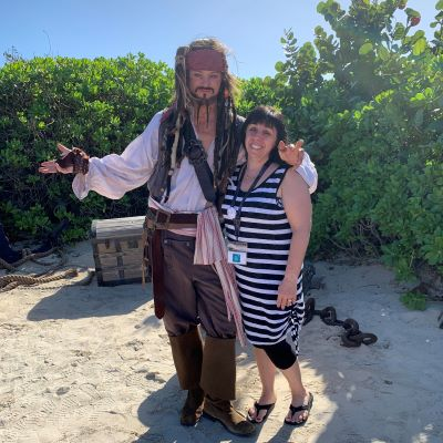 Captain Jack Sparrow at Castaway Cay, Disney Cruise Line's private island.