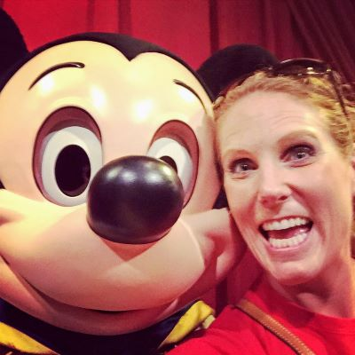 Taking a selfie with Mickey Mouse