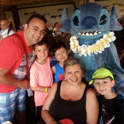 Enjoying breakfast with Stitch at the Polynesian Village Resort.