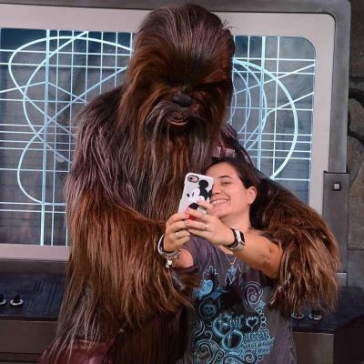 Taking a selfie with Chewbacca at Disney's Hollywood Studios