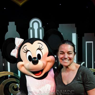 Saying cheese with Minnie Mouse
