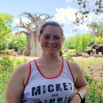 Posing with the elephants on the Caring for Giants Tour at Disney's Animal Kingdom Park