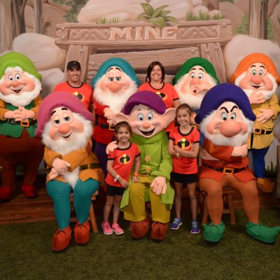 My incredible family with the dwarfs at Mickey's Not So Scary Halloween Party at Magic Kingdom