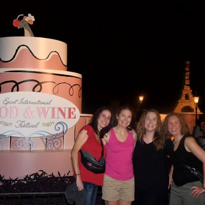 Having a great time with friends at the Epcot International Food & Wine Festiva.