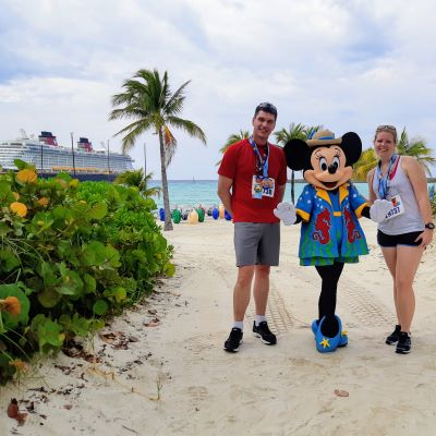 Posing with Minnie Mouse after running the 5km Castaway Cay race with my husband on Disney's private island in the Bahamas.