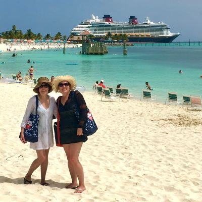 My mom & I on Disney Castaway Cay (with the Disney Fantasy in the background) - while enjoying a mother-daughter vacation and my mom's first cruise ever!