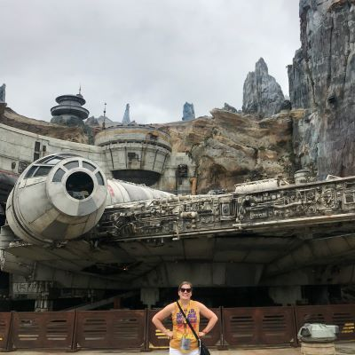 In Star Wars: Galaxy's Edge with the Millenium Falcon