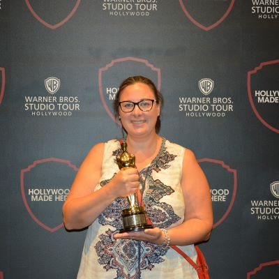 Holding an Oscar at the Warner Bros Studio Tour Hollywood