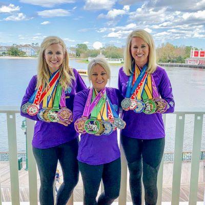 Celebrating with our runDisney medals at Disney's Boardwalk Resort