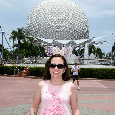 Me and my Minnie ears in front of Spaceship Earth