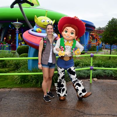 Smiling with Jessie at Toy Story Land at Disney's Hollywood Studios
