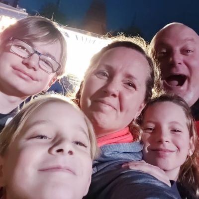 A family selfie at our first visit to Star Wars Galaxy's Edge at Disney's Hollywood Studios