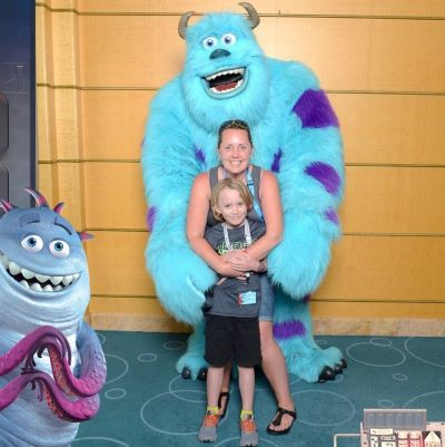 Posing with Sulley on our Disney Cruise
